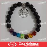 010082 - Pulseira de Pedras Sete Chakras com Pingente Árvore da Vida