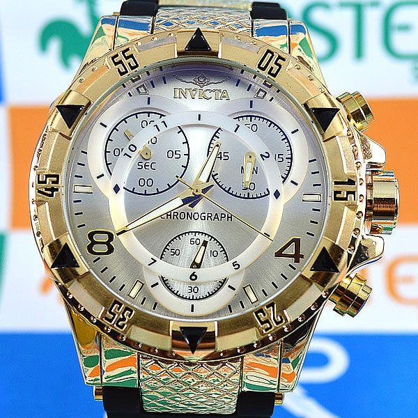 9690b269ce3 Relógio Invicta Excursion Funcional Dourado Fundo Prata Pulseira Borracha  Masculino à prova D´água