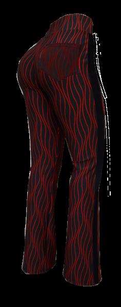 flare com bolsos atrás P-M-G, faixa lateral, cintura alta, tecido jacquard gramatura alta(grosso)