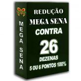 Redução MEGA-SENA contra 26 dezenas em 10 apostas, 4, 5 ou 6 pontos 100%