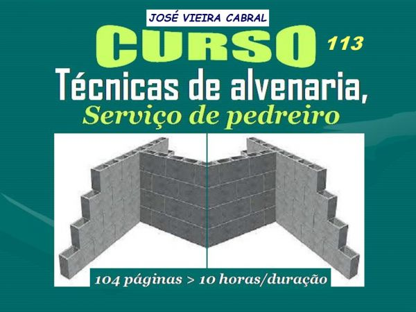 X-113.Técnicas de Alvenaria - Serviço de Pedreiro