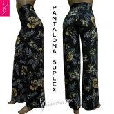 Pantalona estampada(GG-46),preta e floral, tecido suplex gramatura 320