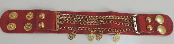 bracelete couro e correntes skulls vermelho