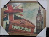 Quadro Telephone London Retrô C/ Moldura Em Madeira