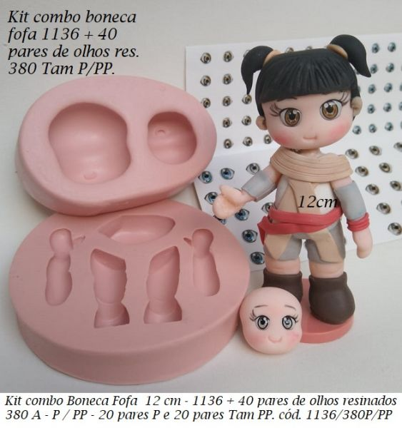 kit combo boneca fofa 1136 + 40 p olhos resinados 380A P /PP