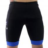'Bermuda Masculina Compressão c/ Bolsos Preta + Punho Azul Anil - Emana