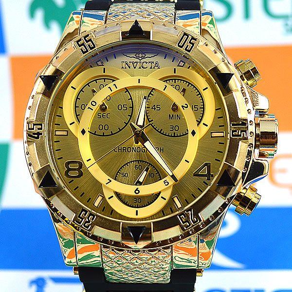 7f6e6469a7d Relógio Invicta Excursion Funcional Dourado Fundo Dourado Pulseira Borracha  Masculino à prova D´água