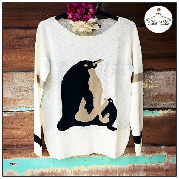Tricot Pinguim Off White – Tamanho Único