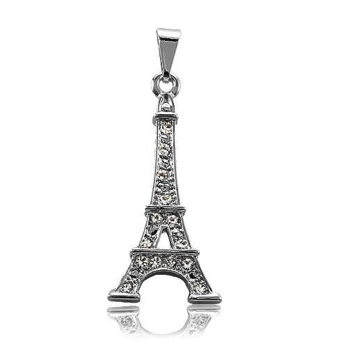 Pingente Folheado Grafite Torre Eiffel com Strass Cravejado Cristal