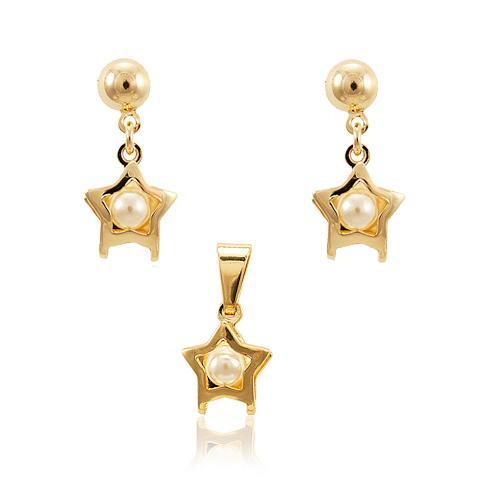 Conjunto Brinco e Pingente Folheado Ouro 18K Coleção Pérola 1014 Estrela