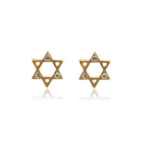 Brinco Folheado Ouro 18K Estrela de Davi com Strass Cravejado Cristal