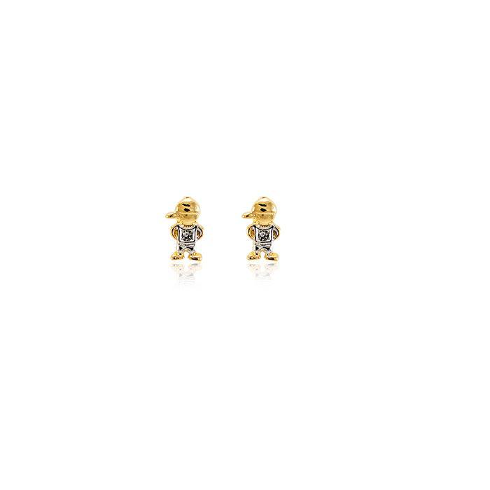 Brinco Folheado Ouro 18K Menino com Strass Cravejado Cristal