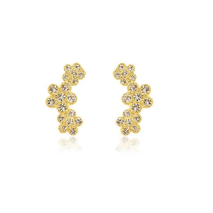 Brinco Ear Cuff Folheado Ouro 18K com Flor e Strass Cravejado Cristal