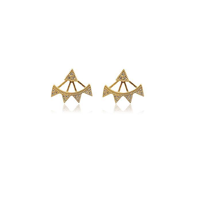 Brinco Folheado Ouro 18K Ear Jacket com Strass Cravejado Cristal
