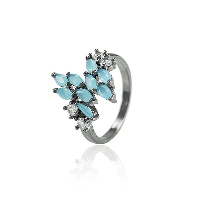 Anel Folheado Ródio Negro Cristal Leitoso Azul e Zircônia Cristal