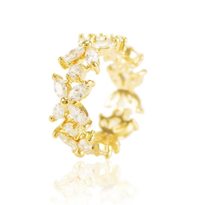 Anel Folheado Ouro 18K com Zircônia Cristal