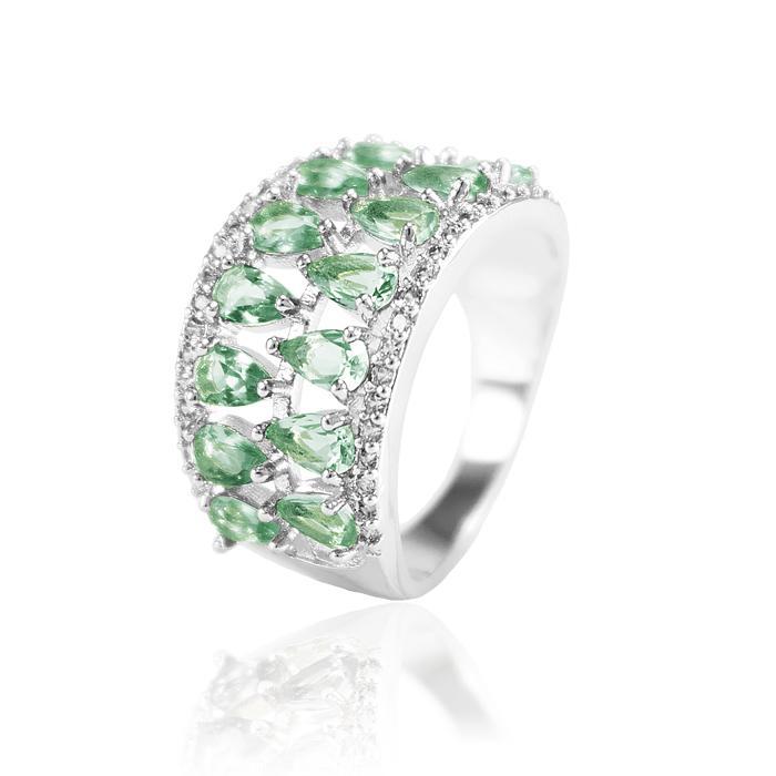 Anel Folheado Ródio com Cristal Turmalina Verde e Micro Zircônia Cristal