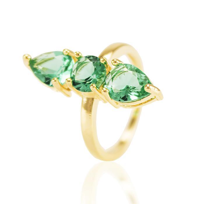 Anel Folheado Ouro 18K com Cristal Gota Turmalina Verde