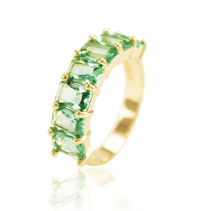 Anel Folheado Ouro 18K com Cristal Turmalina Verde