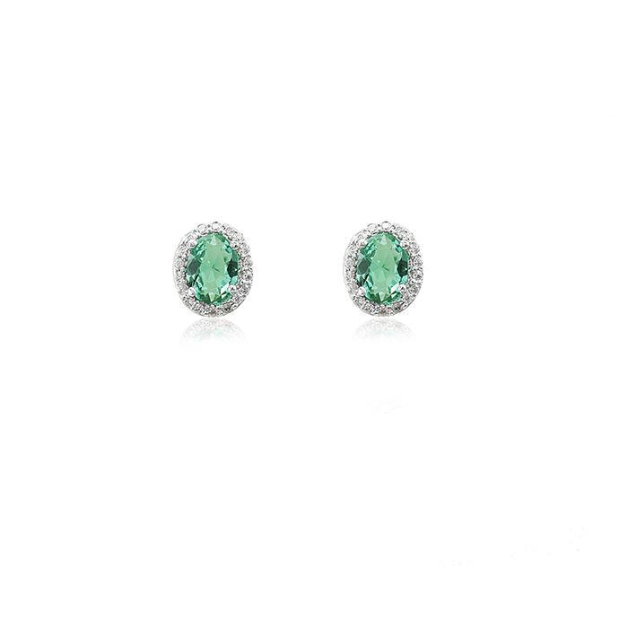 Brinco Folheado Ródio Oval Cristal Turmalina Verde com Micro Zircônia Cristal