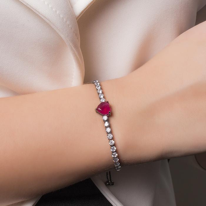 Pulseira Folheada Ródio Negro Coração com Cristal Pink e Micro Zircônia Cristal