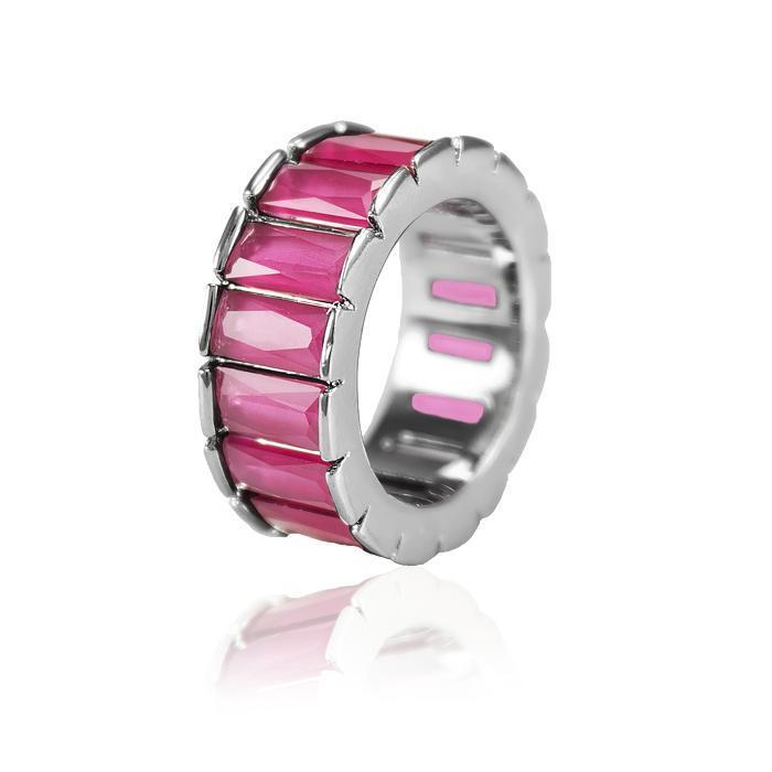 Anel Folheado Ródio Negro com Cristal Leitoso Pink
