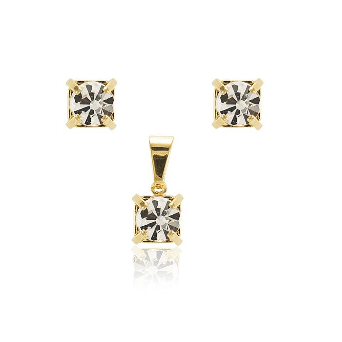 Conjunto Brinco e Pingente Folheado Ouro 18K com Zircônia Cristal