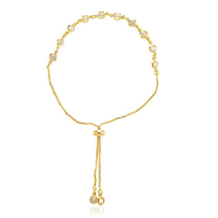 Pulseira Tiffany Folheada Ouro 18K com Cristal