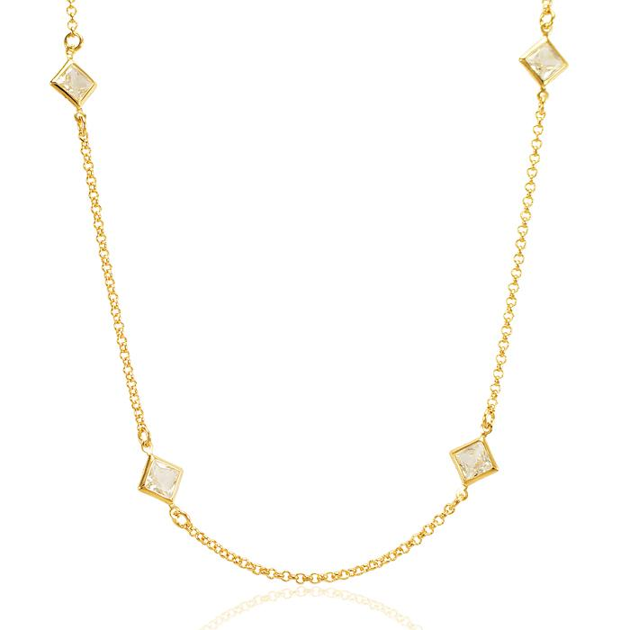 Colar Tiffany Folheado Ouro 18K com Cristal