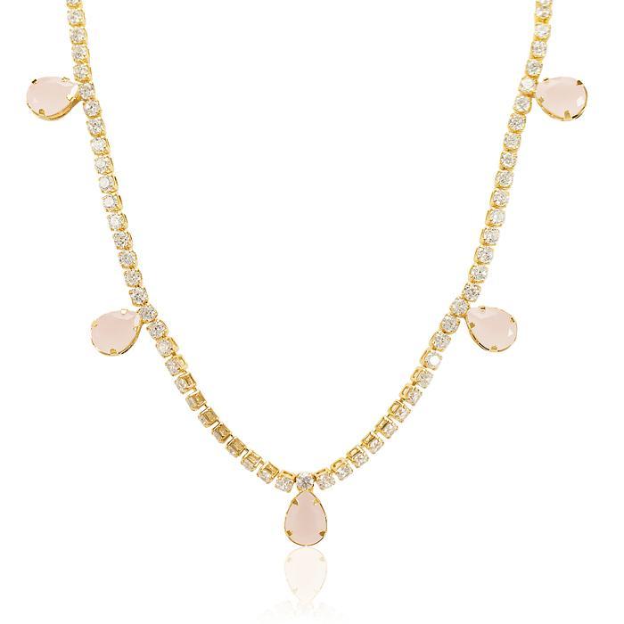 Colar Choker Folheado Ouro 18Kcom Cristal Rosa Leitoso e Micro Zircônia