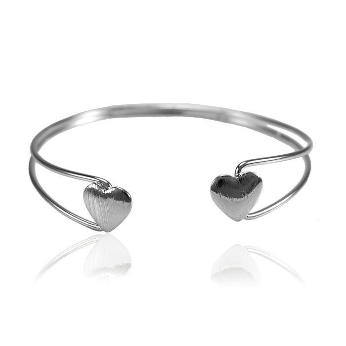Bracelete Folheado Ródio Negro com Corações