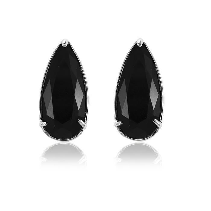 Brinco Folheado Ródio com Cristal Negro