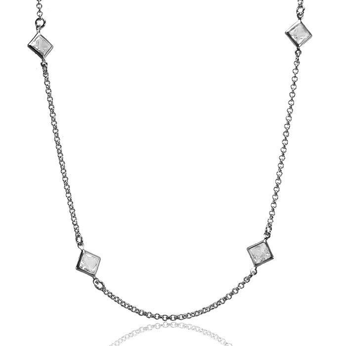 Colar Tiffany Folheado Ródio Negro com Cristal