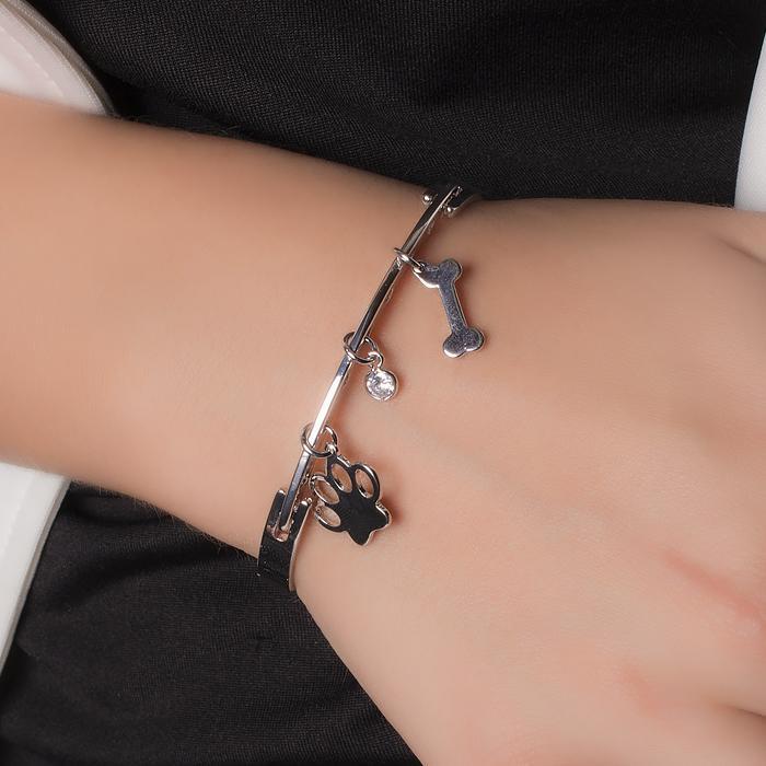 Bracelete Folheado Ródio Pet