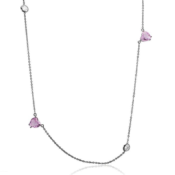 Colar Tiffany Folheado Ródio Negro com Cristal Rosa