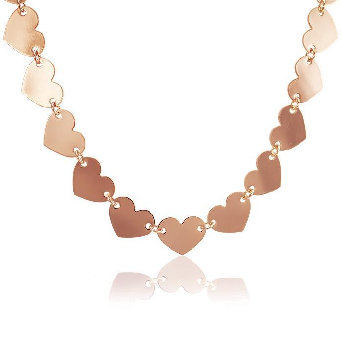 Colar Choker Folheado Ouro Rosê 18K Coração