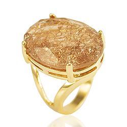 Anel Folheado Ouro 18K com Pedra Fusion Morganita Oval