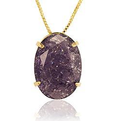 Colar Folheado Ouro 18K com Pedra Fusion Violeta Oval