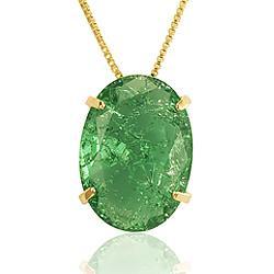 Colar Folheado Ouro 18K com Pedra Fusion Turmalina Verde Oval