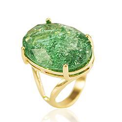 Anel Folheado Ouro 18K com Pedra Fusion Turmalina Verde Oval