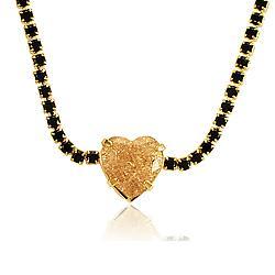 Colar Choker Folheado Ouro 18K com Micro Zircônia Negra e Pedra Fusion Morganita Coração