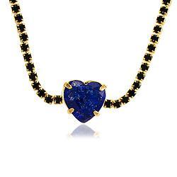 Colar Choker Folheado Ouro 18K com Micro Zircônia Negra e Pedra Fusion Azul Marinho Coração