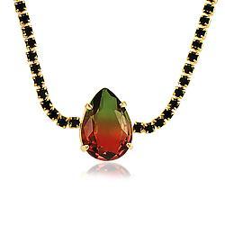 Colar Choker Folheado Ouro 18K com Cristal Bicolor Verde e Vermelho Gota