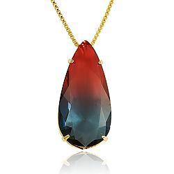 Colar Folheado Ouro 18K com Gota Cristal Bicolor Azul e Vermelho