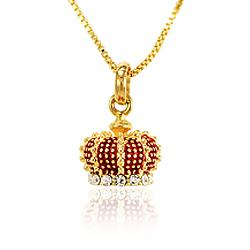 Colar Folheado Ouro 18K Coroa com Strass Cristal e Resina Vermelha