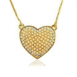 Colar Coração Folheado Ouro 18K com Strass Cristal e Pérola