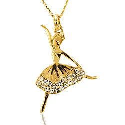 Colar Folheado Ouro 18K Bailarina com Strass Cristal