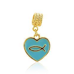 Berloque Coração com Peixe Folheado Ouro 18K