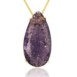 Colar Gota Folheado Ouro 18K com Pedra Fusion Violeta