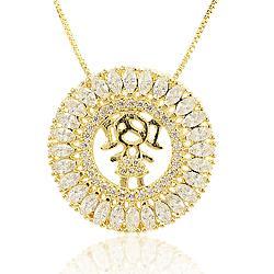 Colar Mandala Menina Folheado Ouro 18K